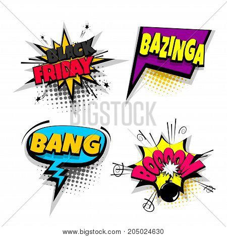 bang boom black friday set lettering. Comics book balloon. Bubble icon speech pop art phrase. Cartoon font label expression. Comic text sound effects. Vector illustration.
