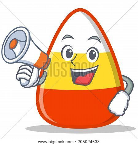With megaphone candy corn character cartoon vector illustration