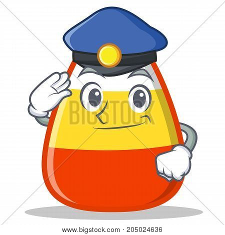Police candy corn character cartoon vector illustration