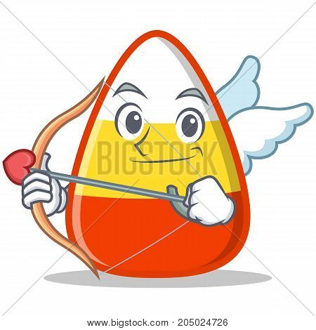 Cupid candy corn character cartoon vector illustration
