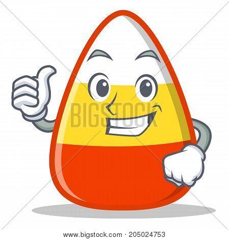 Thumbs up candy corn character cartoon vector illustration