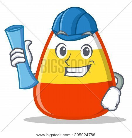 Architect candy corn character cartoon vector illustration