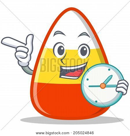 With clock candy corn character cartoon vector illustration