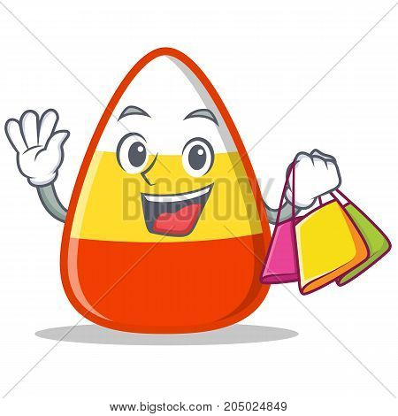Shopping candy corn character cartoon vector illustration