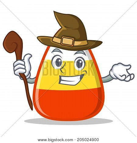 Witch candy corn character cartoon vector illustration