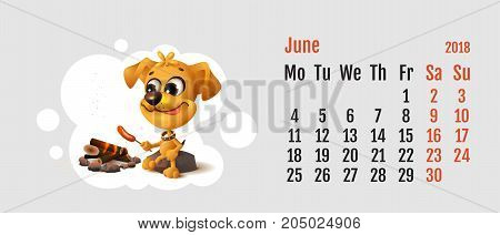 2018 year of yellow dog on Chinese calendar. Yellow fun dog fries sausage at fire stake. Calendar grid month June. Vector cartoon illustration