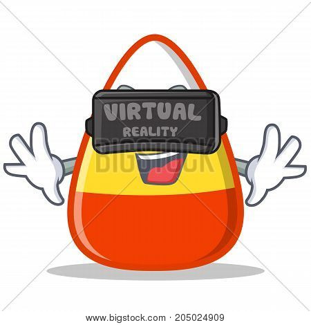 With virtual reality candy corn character cartoon vector illustration