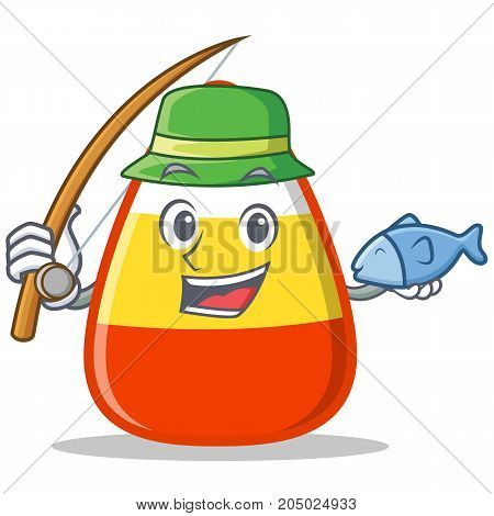 Fishing candy corn character cartoon vector illustration