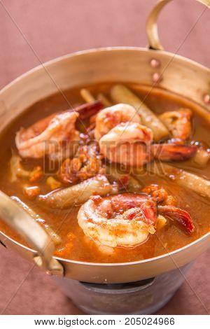 orange curry of lotus stem and shrimp