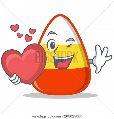 With heart candy corn character cartoon vector illustration