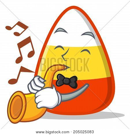 With trumpet candy corn character cartoon vector illustration