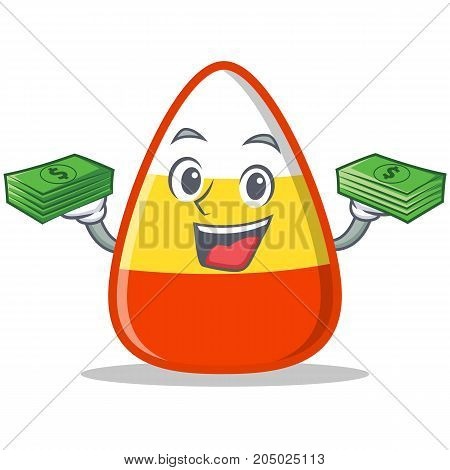 With money candy corn character cartoon vector illustration