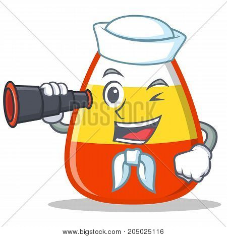 Sailor with binocular candy corn character cartoon vector illustration