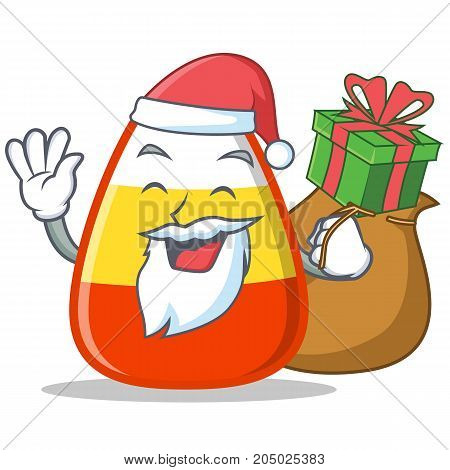 Santa with gift candy corn character cartoon vector illustration