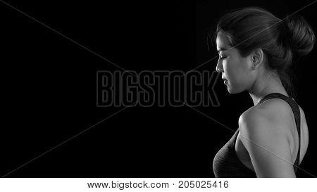 Black and white sport girl black ground.