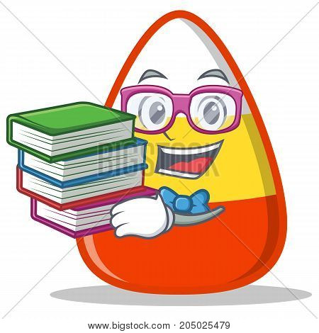 Student with book candy corn character cartoon vector illustration