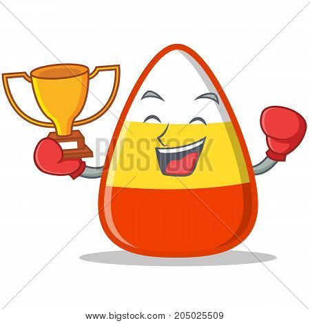 Boxing winner candy corn character cartoon vector illustration