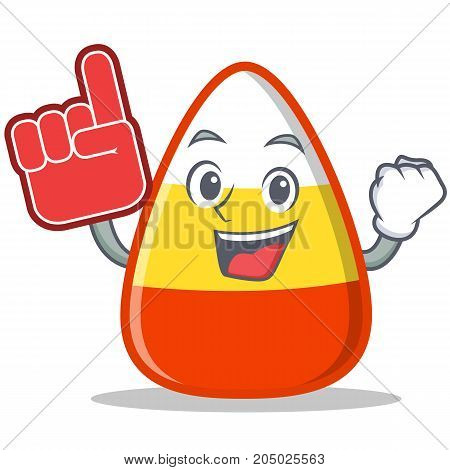Foam finger candy corn character cartoon vector illustration