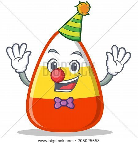 Clown candy corn character cartoon vector illustration