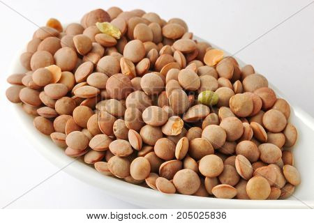 Close up of uncooked brown lentils in a spoon