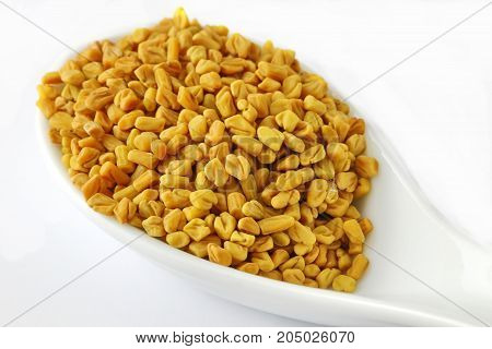 Fengreek or Methi seeds in a spoon on white background