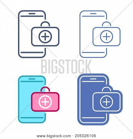 Mobile phone and first aid kit symbol. Doctor's case on the smartphone screen. Vector outline icon set. Telemedicine concept line symbols and pictograms. Thin contour infographic for web, presentation