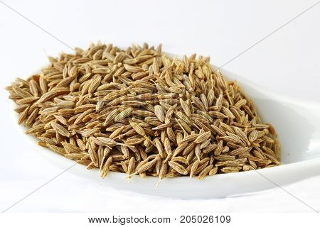 Cumin seeds in a spoon on white background