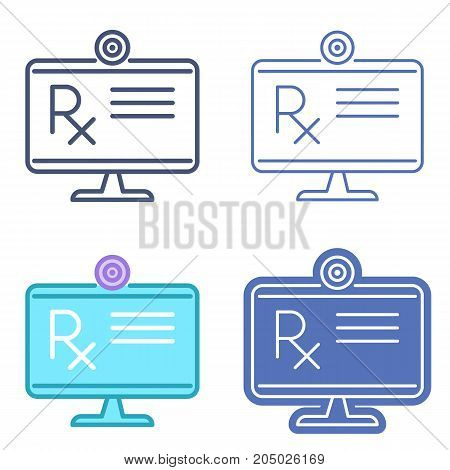 Desktop monitor with prescription symbol. Rx document on the computer screen. Vector outline icon set. Telemedicine concept line symbols and pictograms. Thin contour infographic for web, presentations
