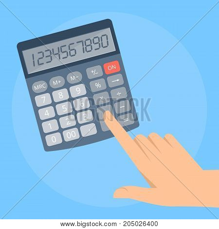 Human hand counts a business income. Concept illustration of male, female hand with electronic office calculator. Flat vector design elements.