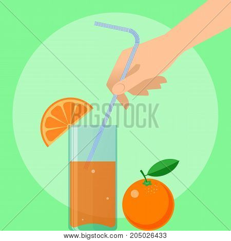 Human hand holds drinking straw. Concept illustration of male, female hand with straw, glass of juice and the orange. Flat vector design elements.
