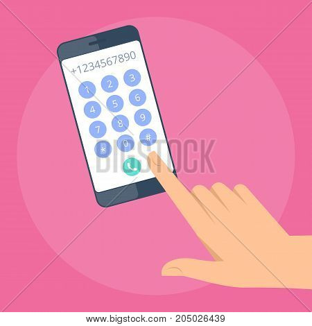 Human hand is dialing the number on the mobile phone. Concept illustration of male, female hand with smart phone. Flat vector design elements.