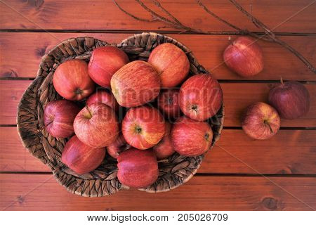 Red apples in the basket and dry branch as decor, autumn harvest.