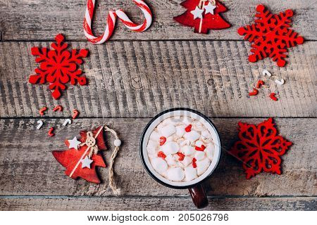 Hot Chocolate with Marshmallow and Holiday Decoration. Traditional Winter Christmas Drink. Copy Space Top view Frame