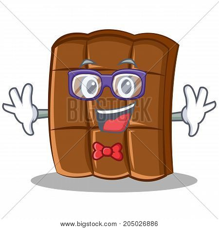 Geek chocolate character cartoon style vector illustration