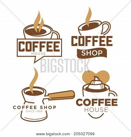 Coffee cup logo template for coffeeshop or coffee cafeteria and cafe design. Vector cappuccino heart, hot americano mug or espresso coffee steam and ribbon. Vector isolated icons set
