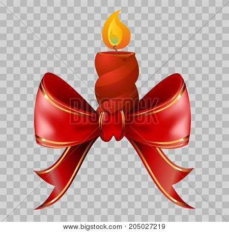 Lighted red Christmas candle tied with red ribbon with golden edge isolated cartoon flat vector illustration on transparent background. Bright symbolic holiday decoration that spreads light.