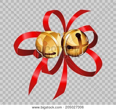 Christmas decoration golden jingle bells balls on red ribbon bow on transparent background. Vector isolated decorative element template for Christmas tree or New Year greeting card design