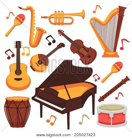 Musical instruments flat icons. Vector isolated set of orchestra harp and rock or banjo guitar, piano music notes and drums or percussion, maracas and flute with saxophone or trumpet bass