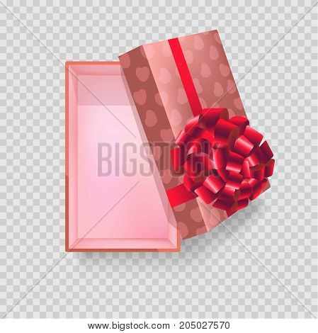Rectangular capacious gift box wrapped in paper with hearts and big red glossy bow isolated cartoon flat vector illustration view from top on transparent background. Festive container for presents.