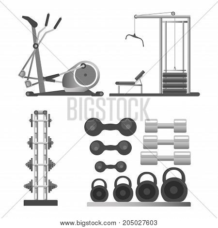 Gym or fitness club sport equipment and bodybuilding exercise weights. Cardiovascular run treadmill, cycling bicycle, weightlifting abs machine barbell, dumbbell and kettlebell. Vector isolated icons