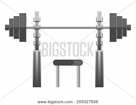 Gym chest press machine with barbell weights and exercise bench. Vector isolated icons for fitness sport club bodybuilding and powerlifting equipment