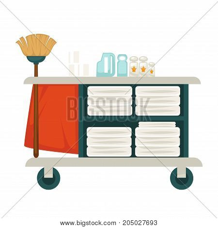 Tray on wheels with mop, chemical cleaners and fresh clean towels isolated cartoon flat vector illustration on white background. Convenient equipment for professional and qualitative cleaning.