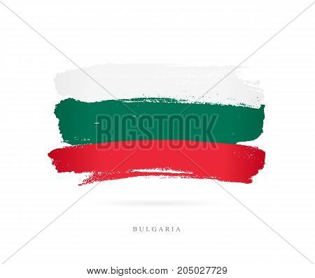 Flag of Bulgaria. Vector illustration on white background. Beautiful brush strokes. Abstract concept. Elements for design.