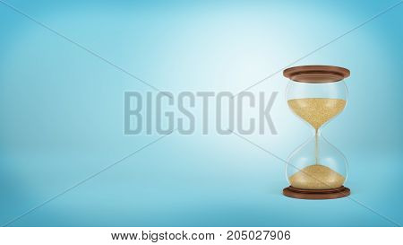 3d rendering of a retro hourglass on round wooden bases with sand falling in its lower chamber. Time is money. Profit and chance. Effectiveness against procrastination.