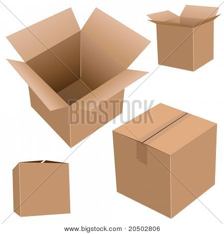 Cardboard boxes isolated on white realistic vector illustration.