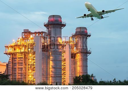 Landscape of oil refinery industry with oil storage tank.Industrial landscape with chimneys tank
