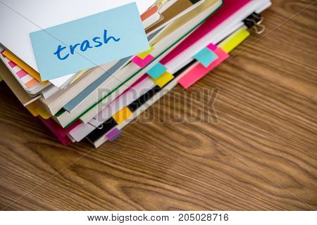 Trash; The Pile Of Business Documents On The Desk