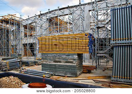 Different metal materials at unfinished construction site