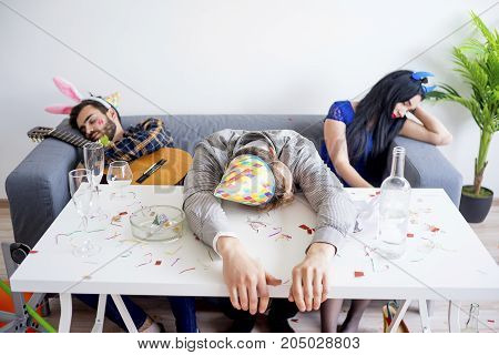 People having a hangover after night party