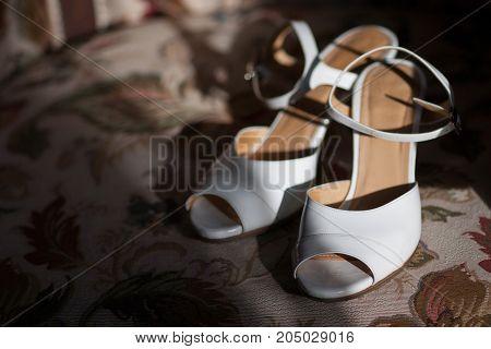 Bridal wedding day shoes - Stock Image